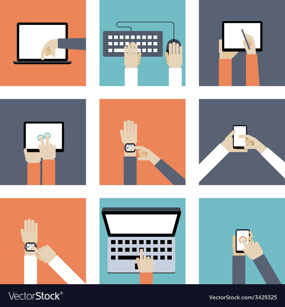 Hands holding digital devices vector | Price: 1 Credit (USD $1)