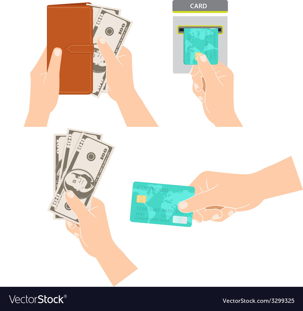 Hands holding money credit card and purse vector   Price: 1 Credit (USD $1)