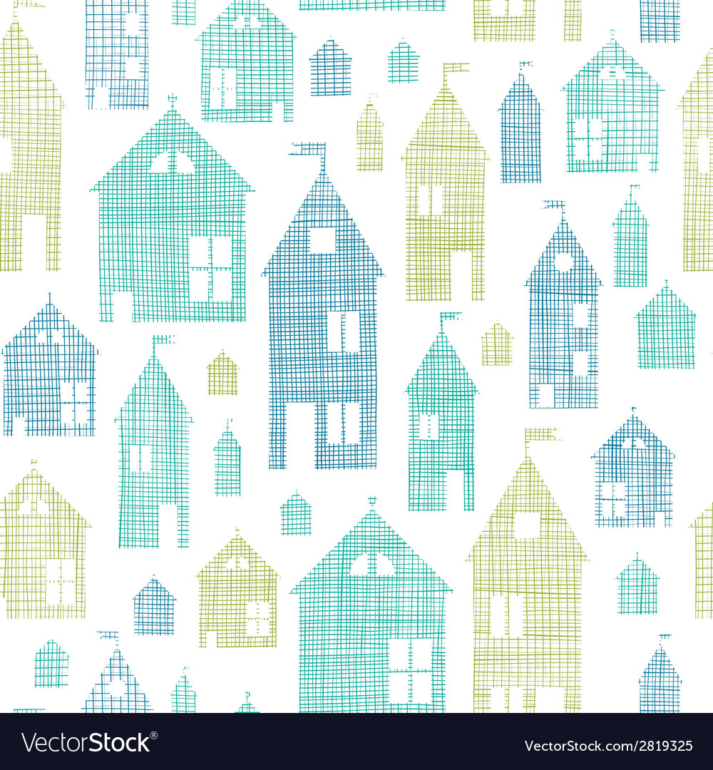 Houses blue green textile texture seamless pattern vector | Price: 1 Credit (USD $1)