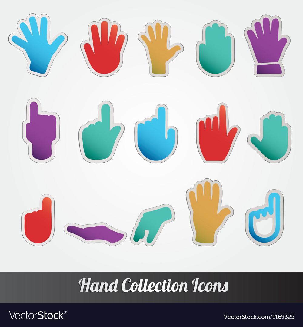 Human hand collection icon set vector | Price: 1 Credit (USD $1)