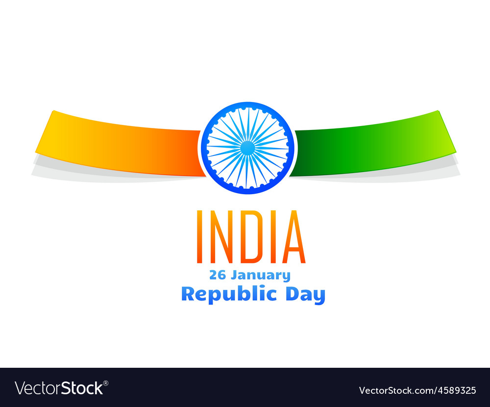 Indian republic day design isolated in white vector | Price: 1 Credit (USD $1)