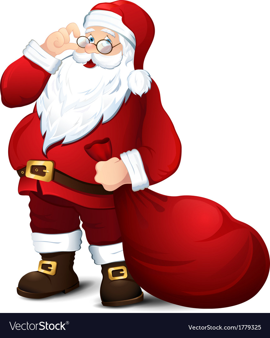 Isolated santa claus vector