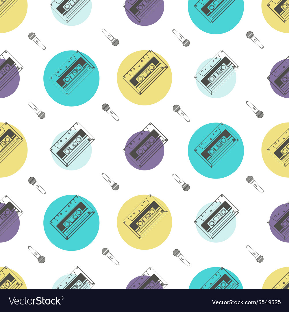 Music flat line retro seamless pattern with vector | Price: 1 Credit (USD $1)