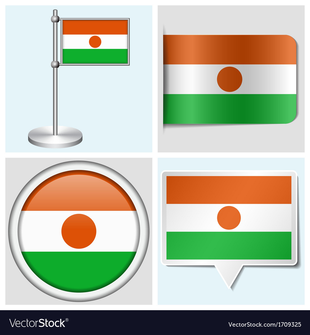 Niger flag - sticker button label flagstaff vector | Price: 1 Credit (USD $1)