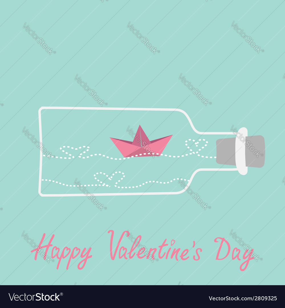 Origami paper boat and heart wave wine bottle vector | Price: 1 Credit (USD $1)