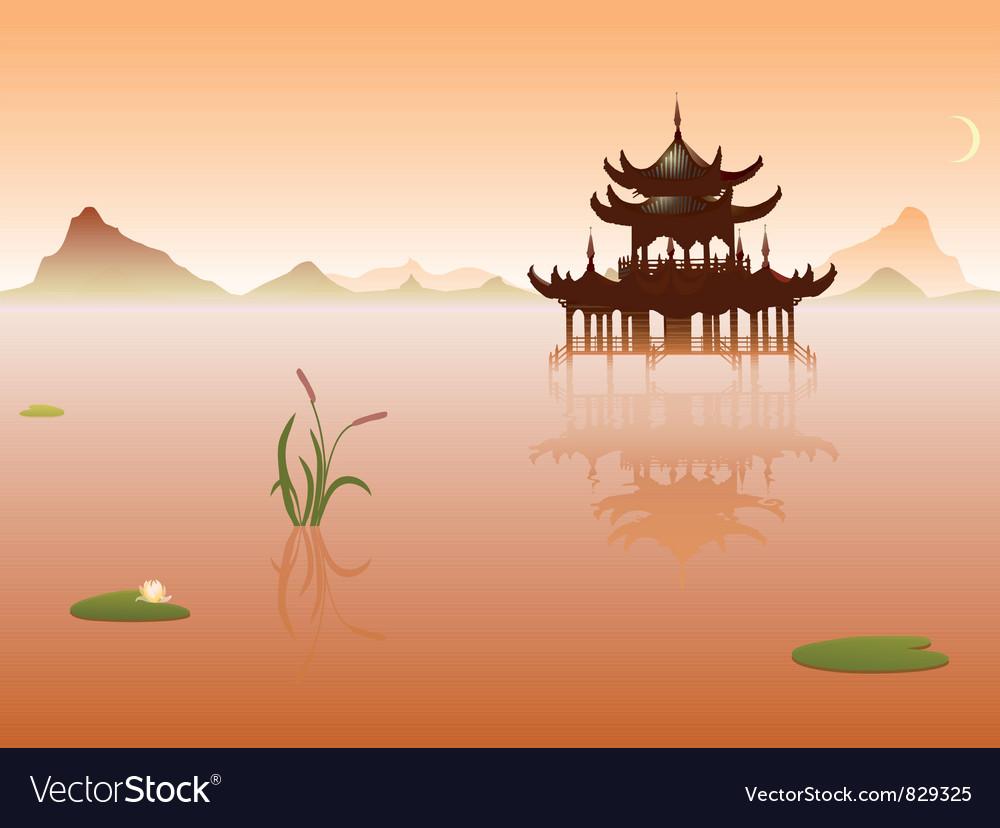 Peaceful lake vector | Price: 1 Credit (USD $1)