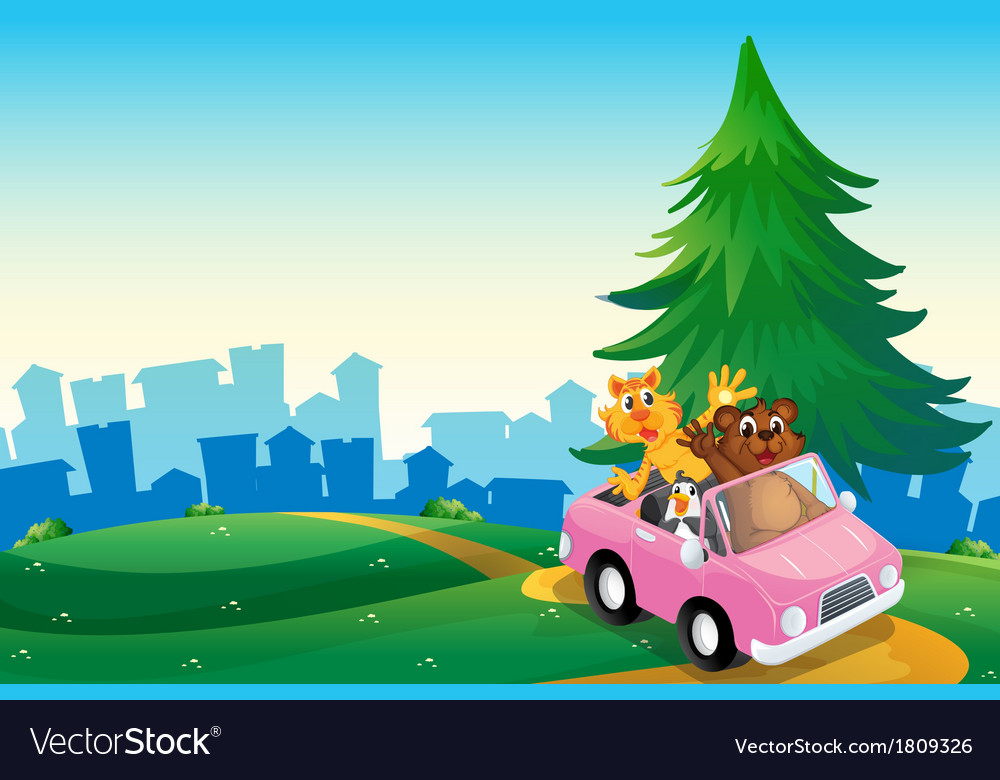 A pink car with animals running at the hilltop vector | Price: 1 Credit (USD $1)