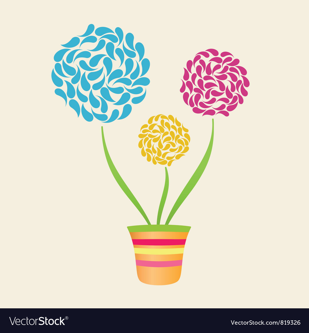 Abstract flower in pot vector | Price: 1 Credit (USD $1)