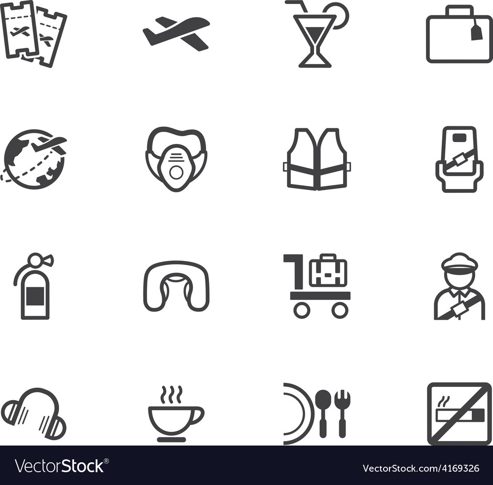 Air aboard element black icon set on white bg vector | Price: 1 Credit (USD $1)