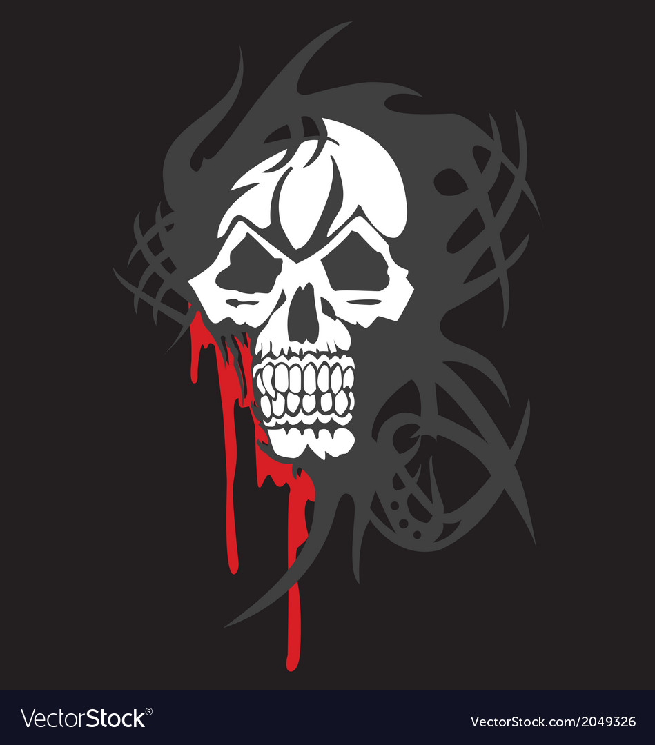 Bloody skull on white background vector | Price: 1 Credit (USD $1)