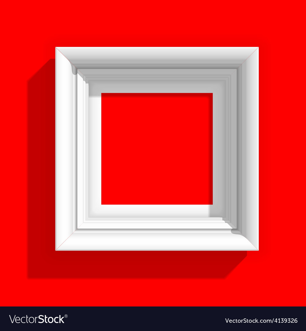 Empty picture frame on red background vector | Price: 1 Credit (USD $1)