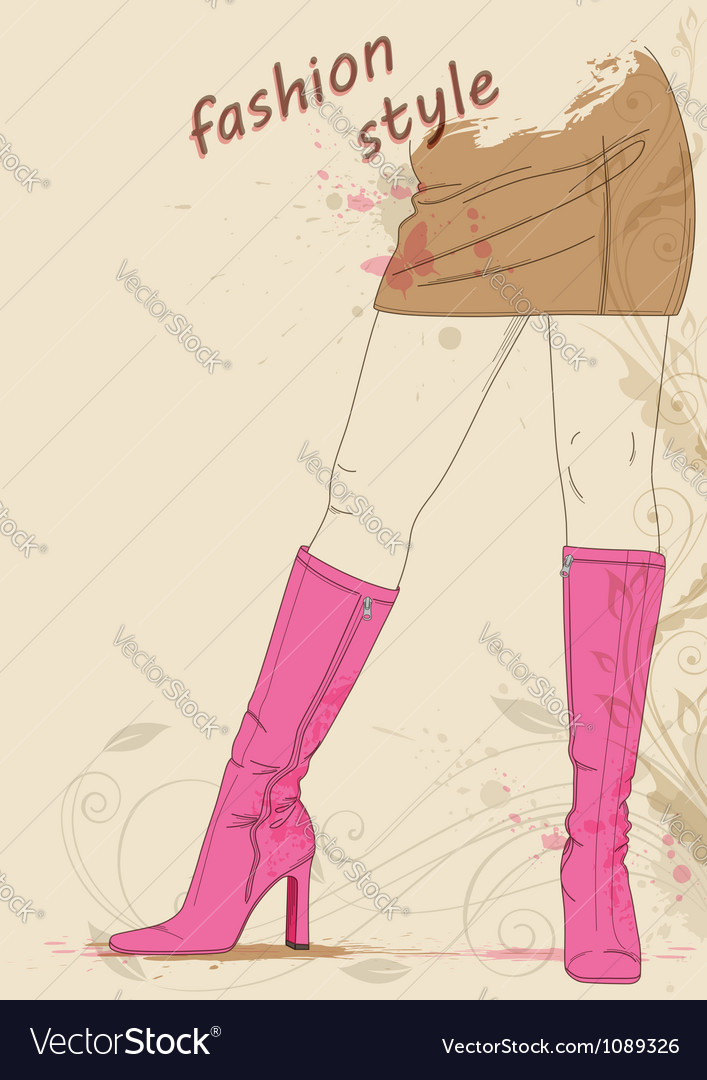 Female legs in boots vector | Price: 1 Credit (USD $1)