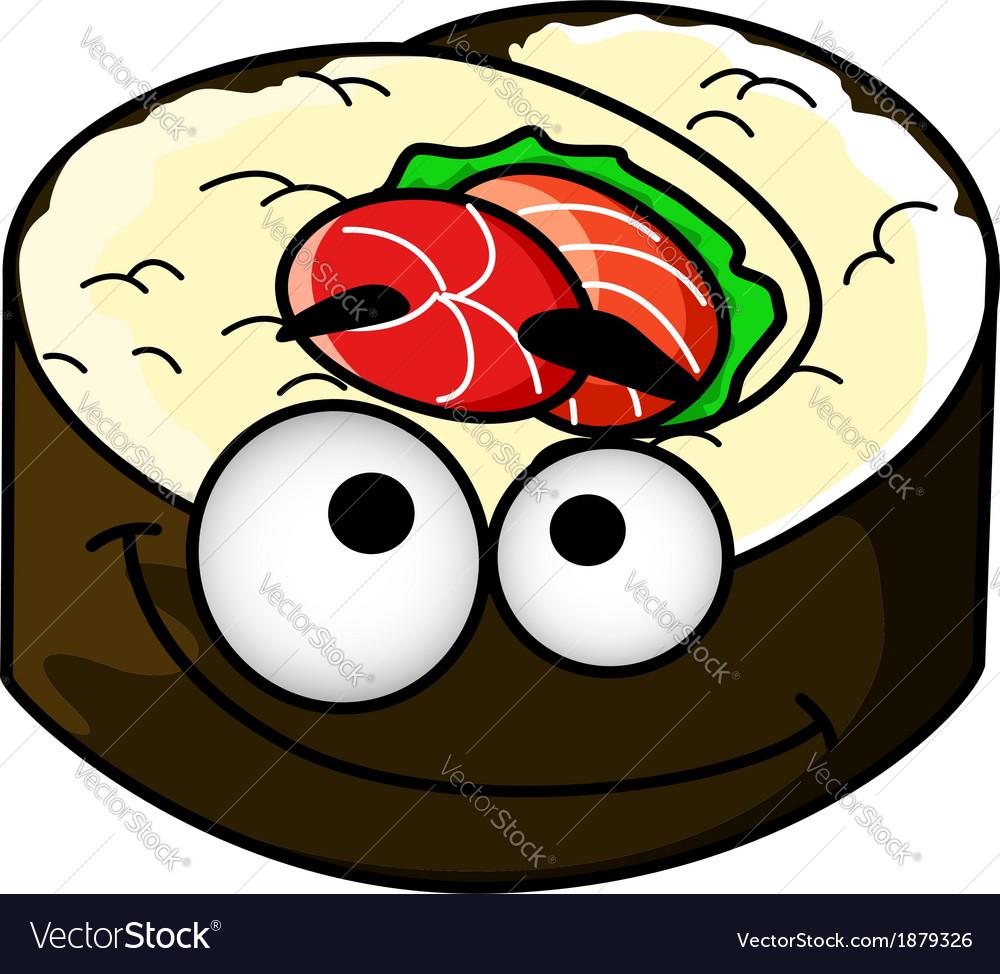 Fun portion of cartoon sushi vector | Price: 1 Credit (USD $1)