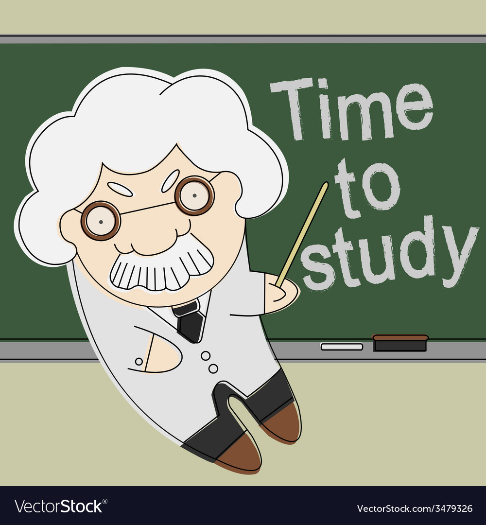 Old professor point to chalkboard vector | Price: 1 Credit (USD $1)