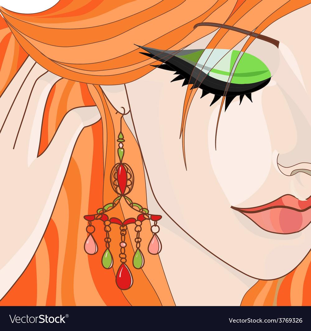 Redhairedgirlwithearrings vector