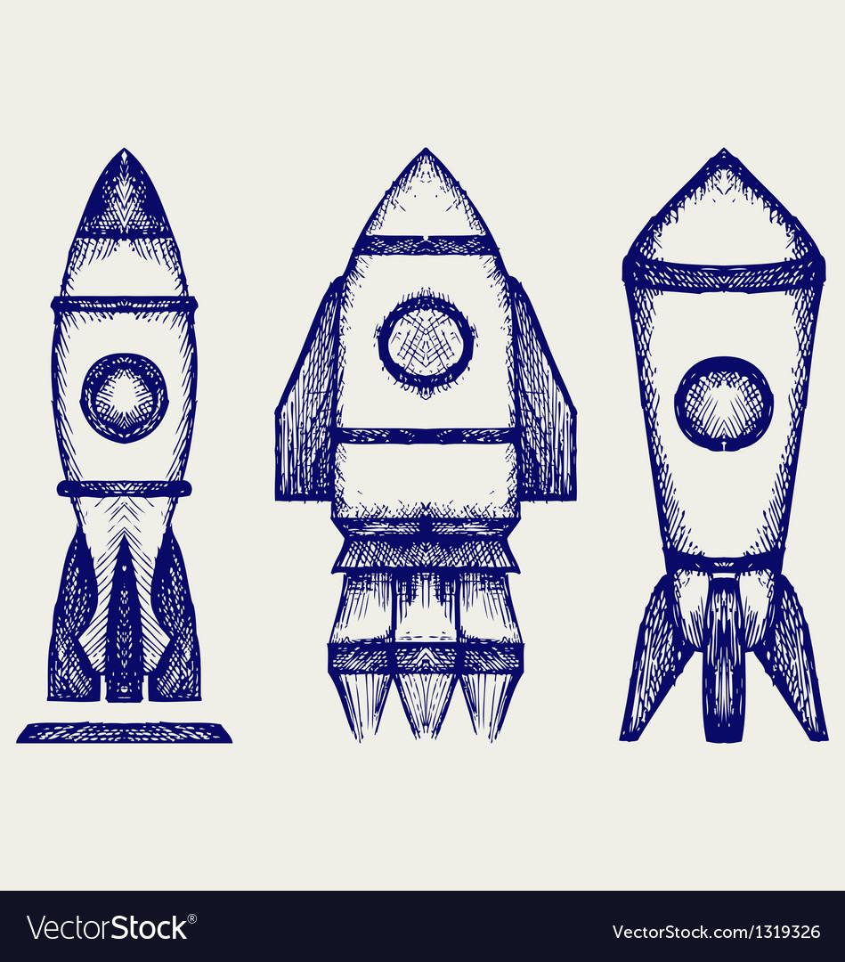 Retro rocket vector | Price: 1 Credit (USD $1)