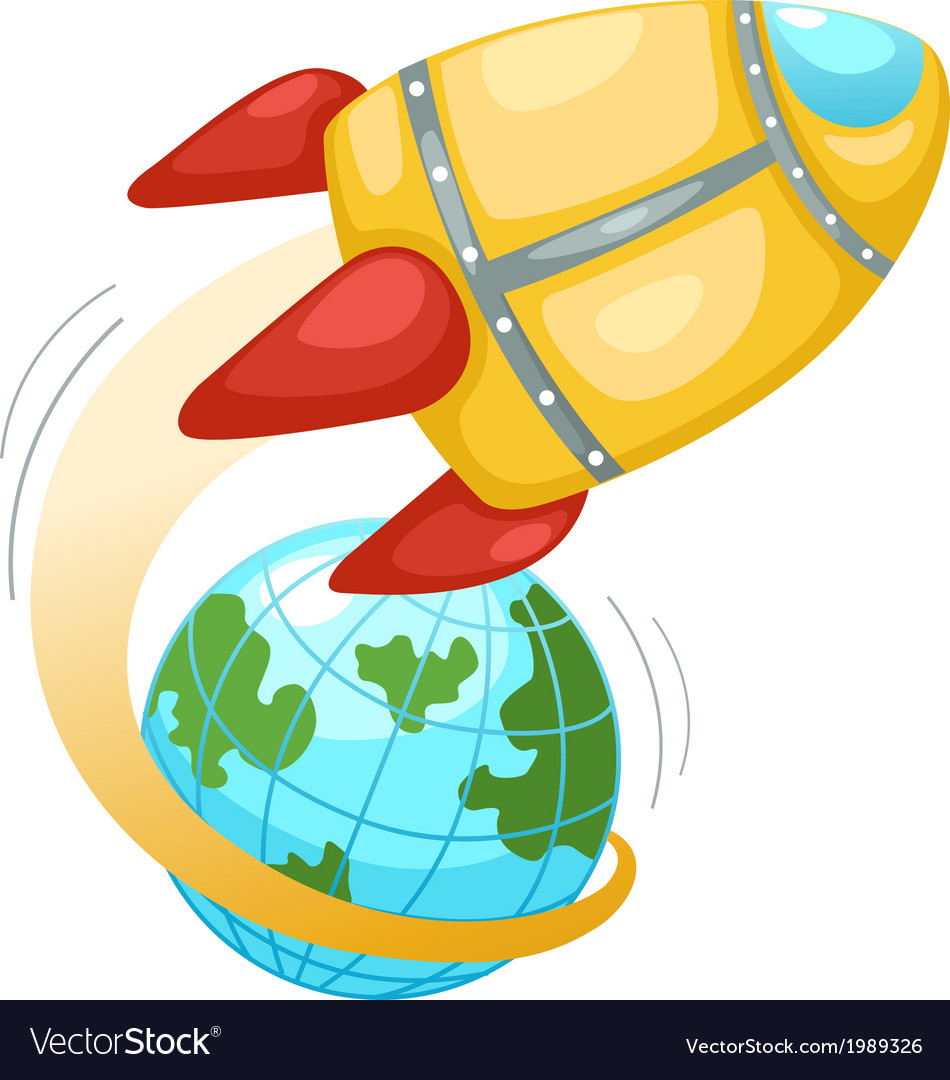 Rocket and earth globe vector | Price: 1 Credit (USD $1)