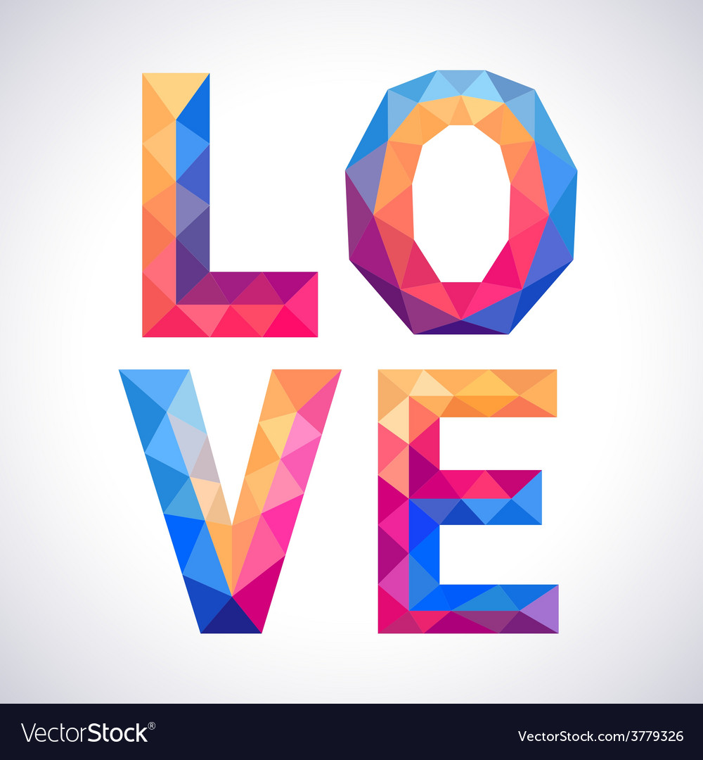 Romantic polygonal love concept card vector | Price: 1 Credit (USD $1)