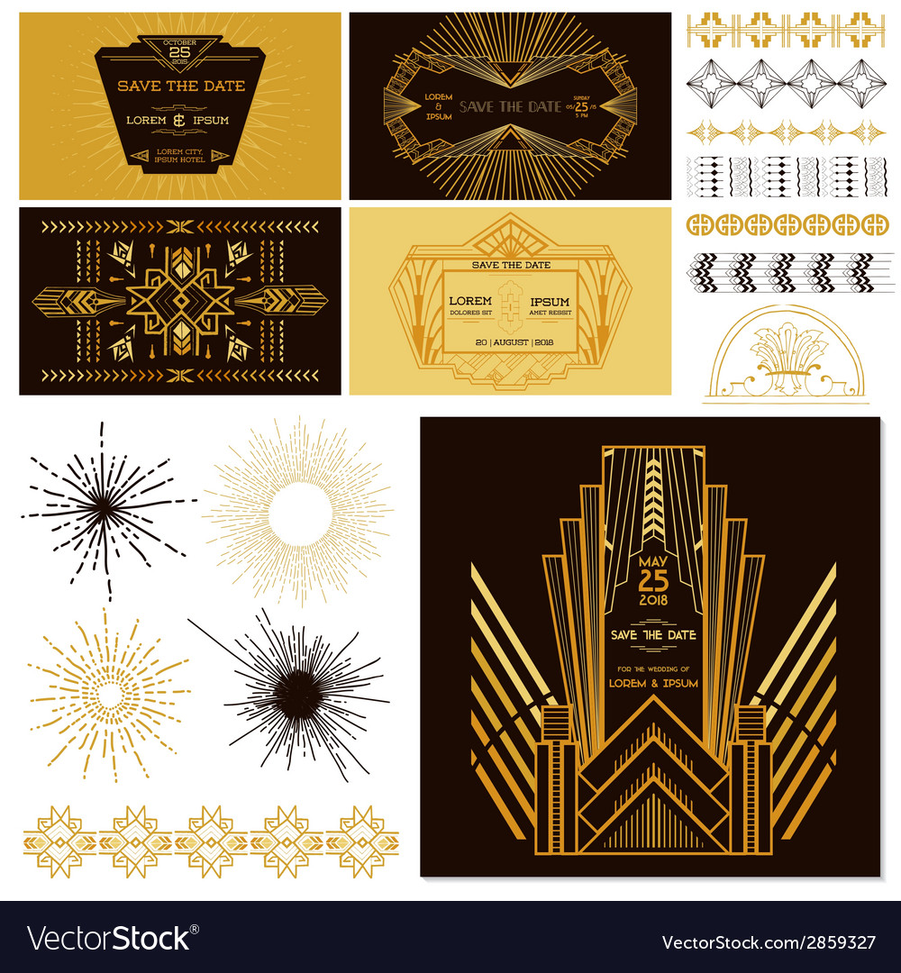 Art deco or gatsby party set vector | Price: 1 Credit (USD $1)