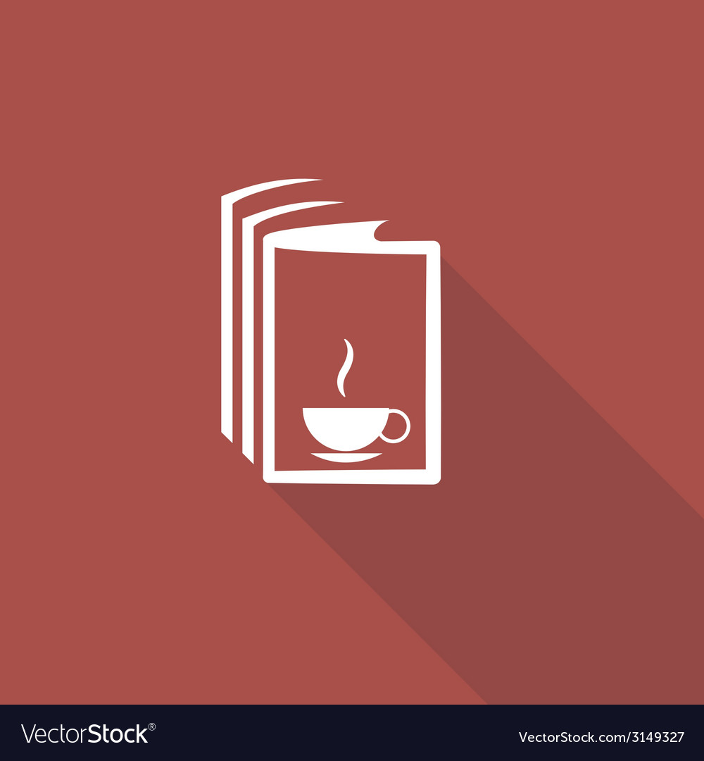 Book and a cup of tea icon vector | Price: 1 Credit (USD $1)