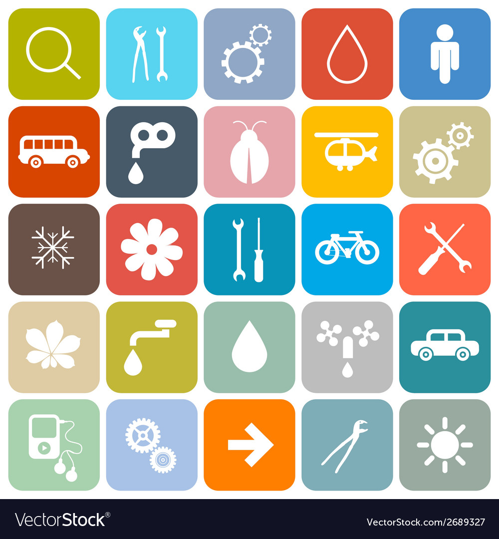 Colorful flat design rounded square icons set vector | Price: 1 Credit (USD $1)