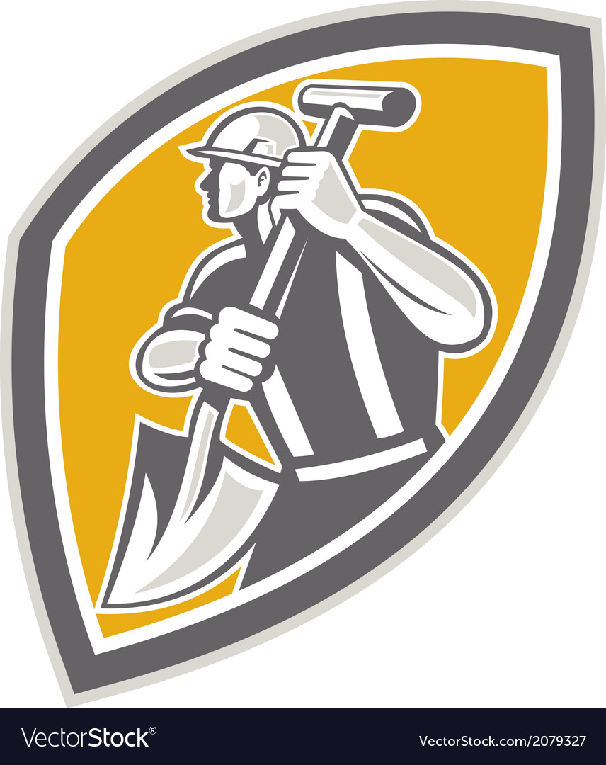 Construction worker digging shovel retro vector | Price: 1 Credit (USD $1)