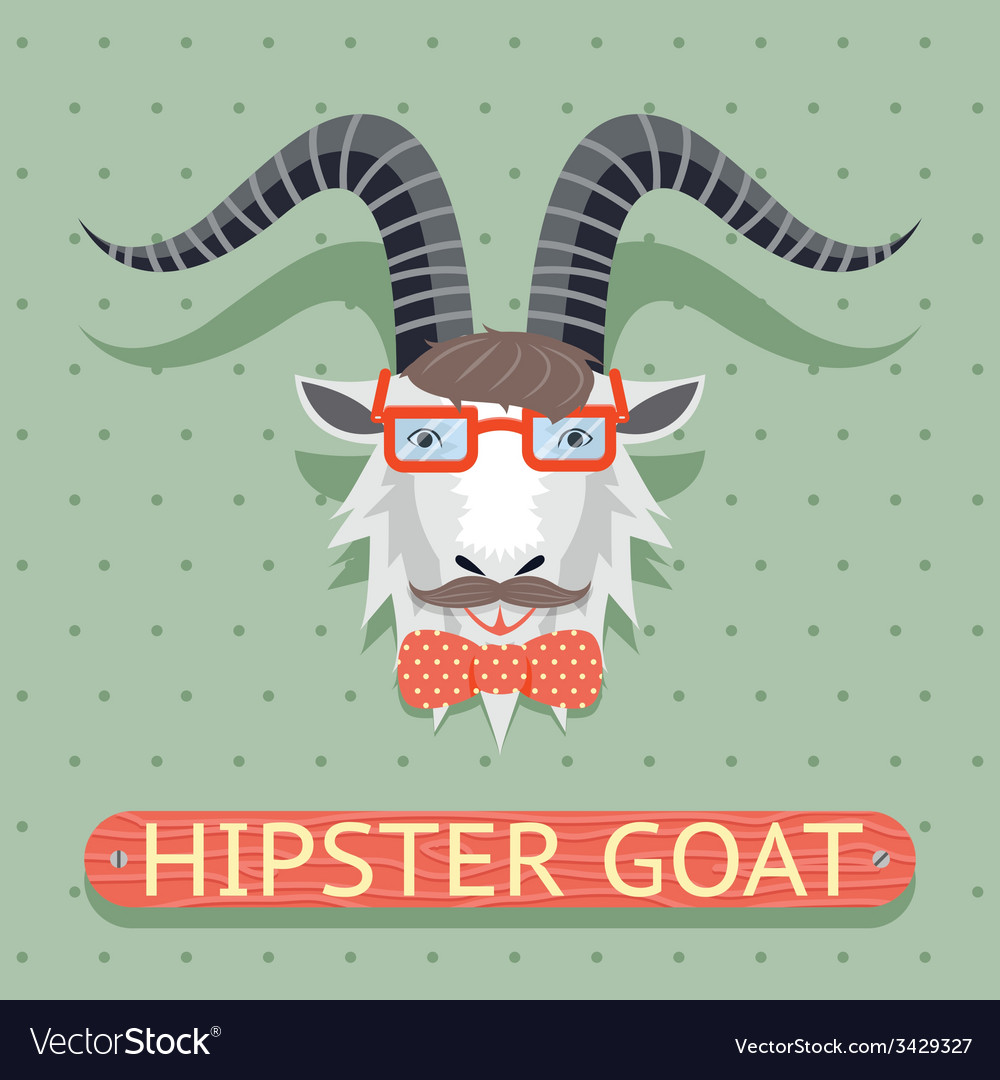Hipster goat sign vector | Price: 1 Credit (USD $1)