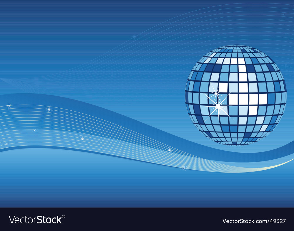Mirror ball and waves background vector | Price: 1 Credit (USD $1)