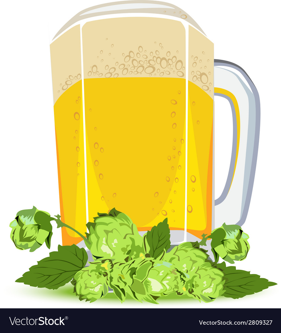 Mug of lager beer and green hops vector | Price: 1 Credit (USD $1)