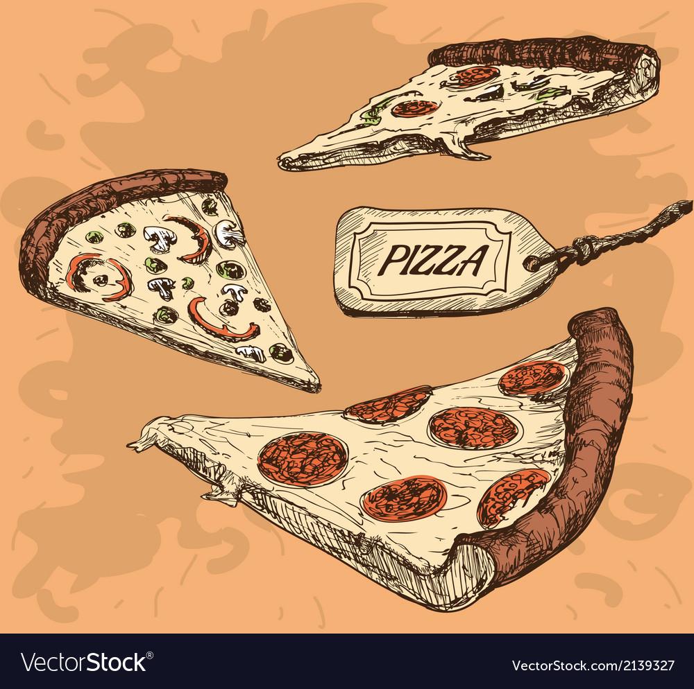 Pizza hand drawn vector   Price: 1 Credit (USD $1)