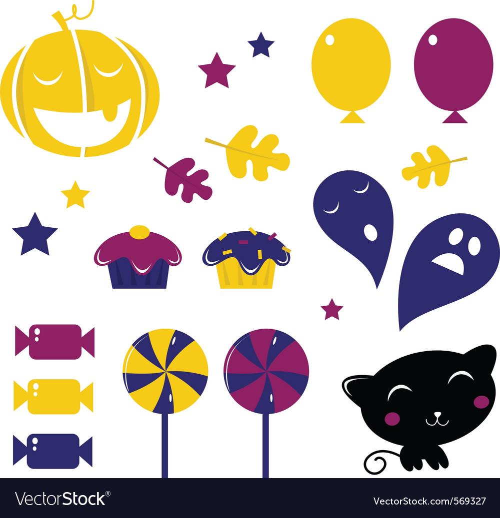 Retro halloween icons vector | Price: 1 Credit (USD $1)