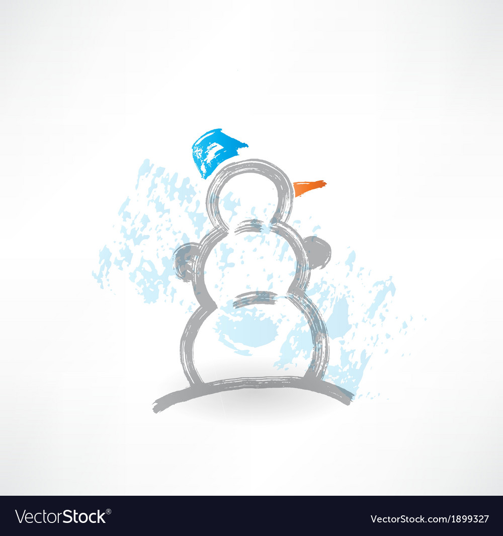 Snowman grunge icon vector | Price: 1 Credit (USD $1)