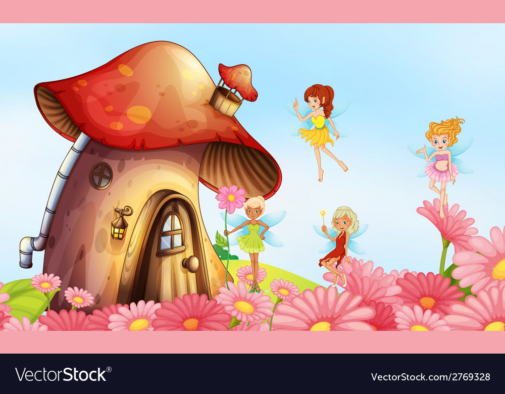 A big mushroom house with fairies vector | Price: 3 Credit (USD $3)