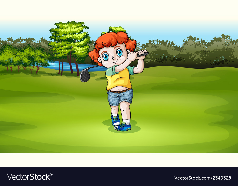 A young boy playing golf at the field vector | Price: 3 Credit (USD $3)