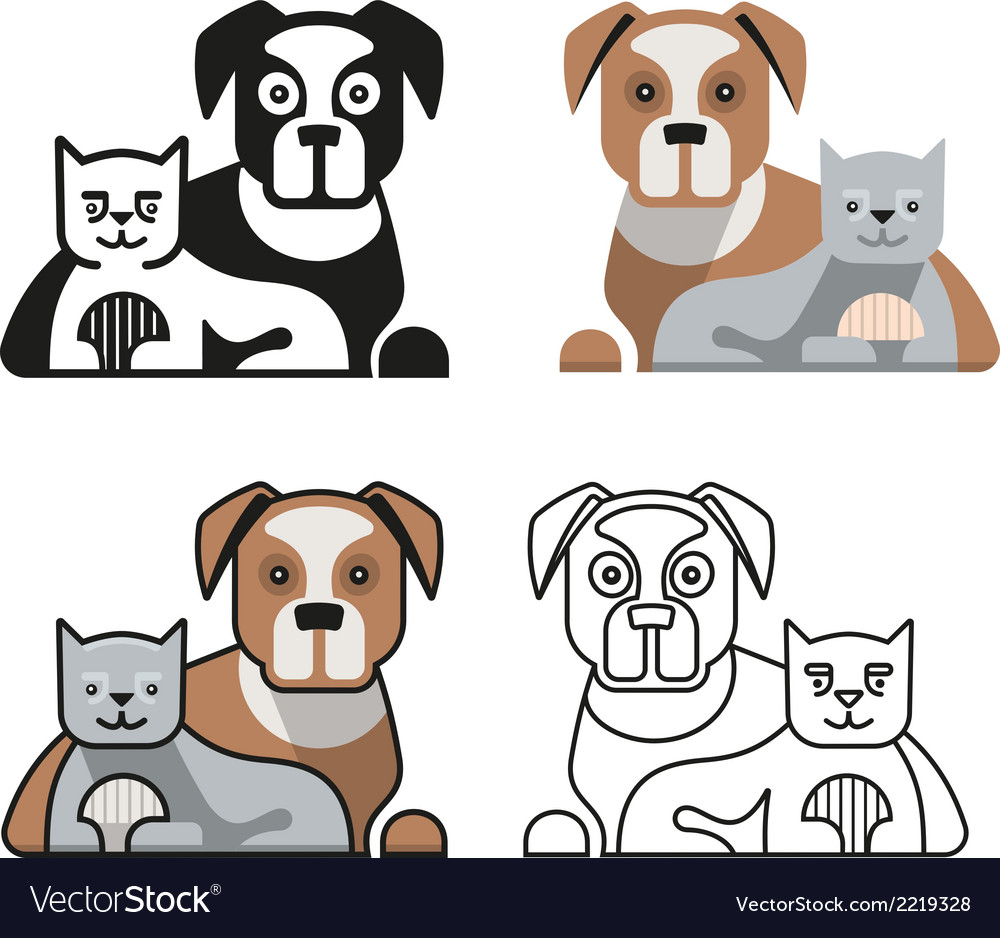 Dog and cat together vector | Price: 1 Credit (USD $1)