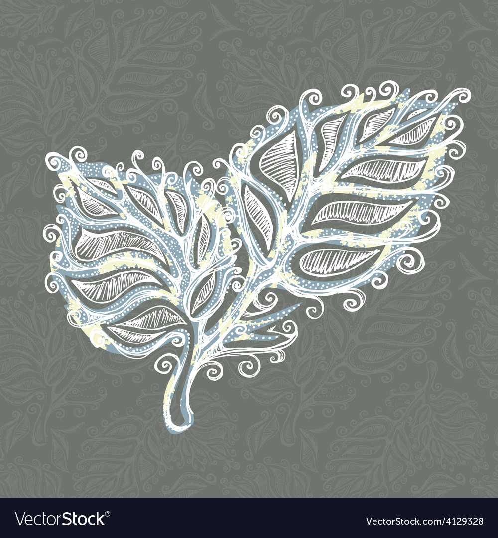 Doodle ink leaf pattern vector   Price: 1 Credit (USD $1)