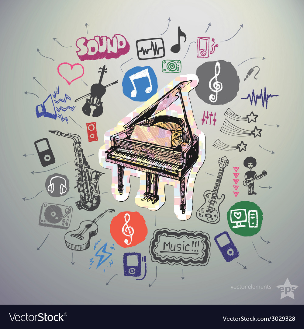 Hand drawn media icons set and sticker with piano vector | Price: 1 Credit (USD $1)