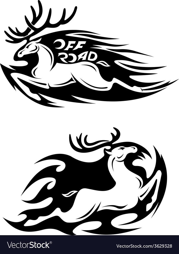 Leaping speeding deer off road icon vector | Price: 1 Credit (USD $1)