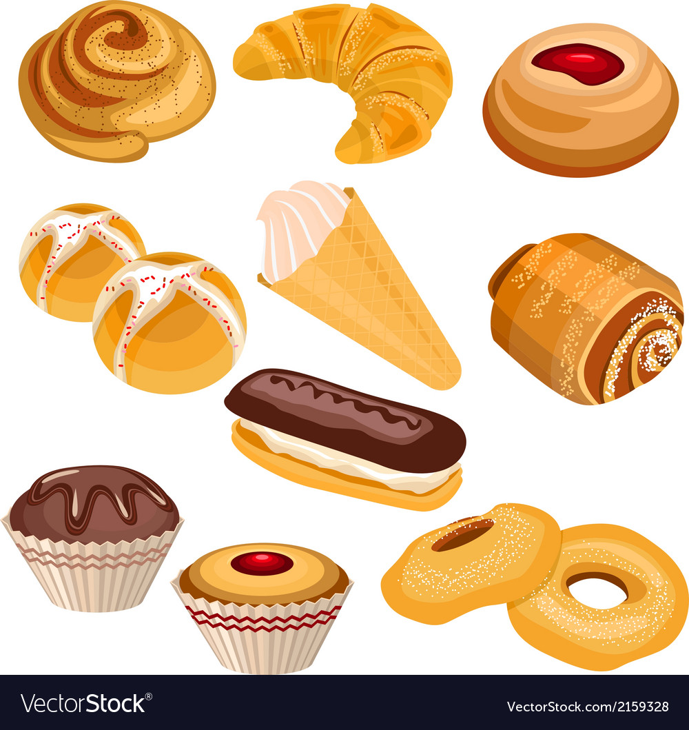 Set of pastry isolated on white vector | Price: 1 Credit (USD $1)