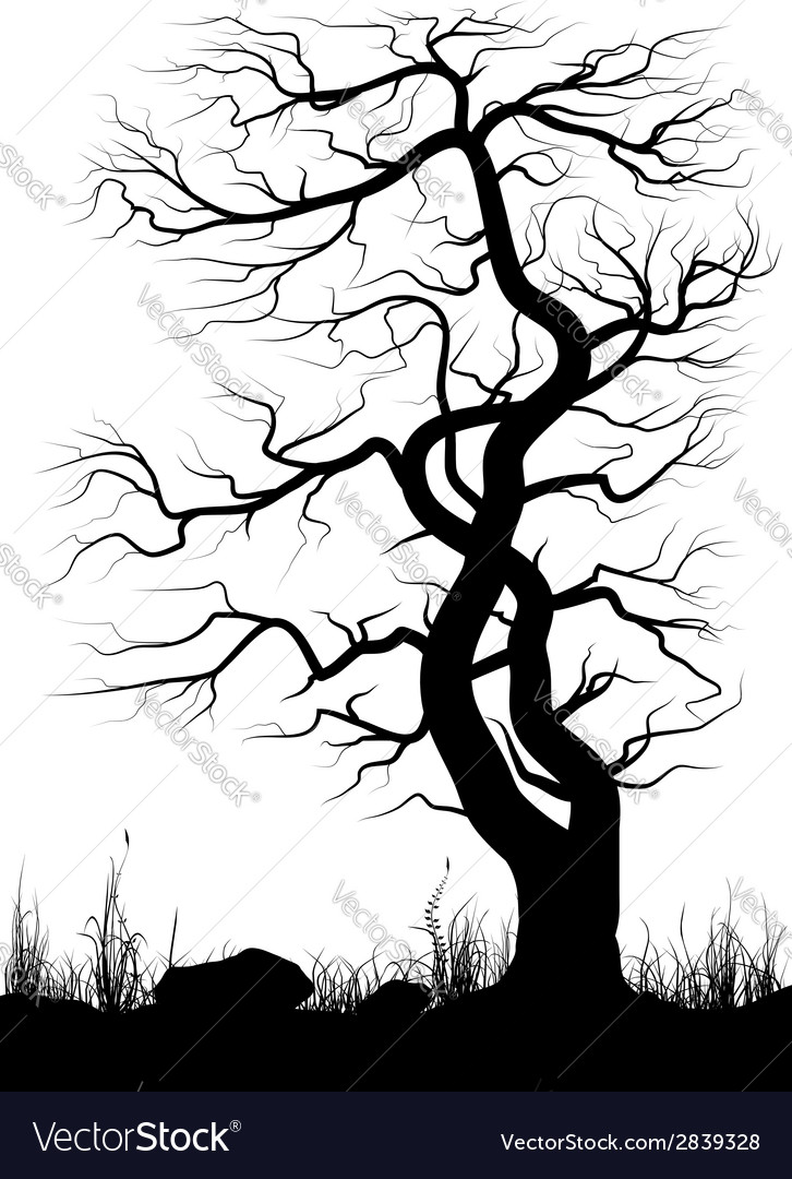 Silhouette of old tree and grass over white vector | Price: 1 Credit (USD $1)