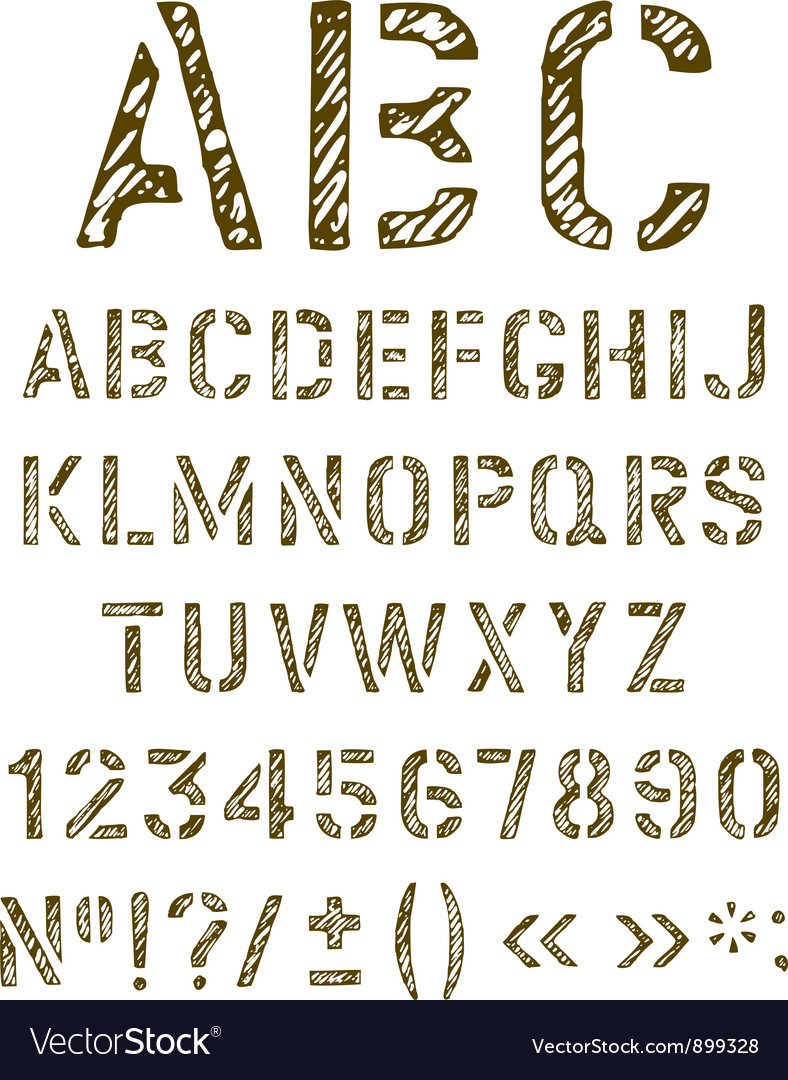 Stencil letters set vector | Price: 1 Credit (USD $1)