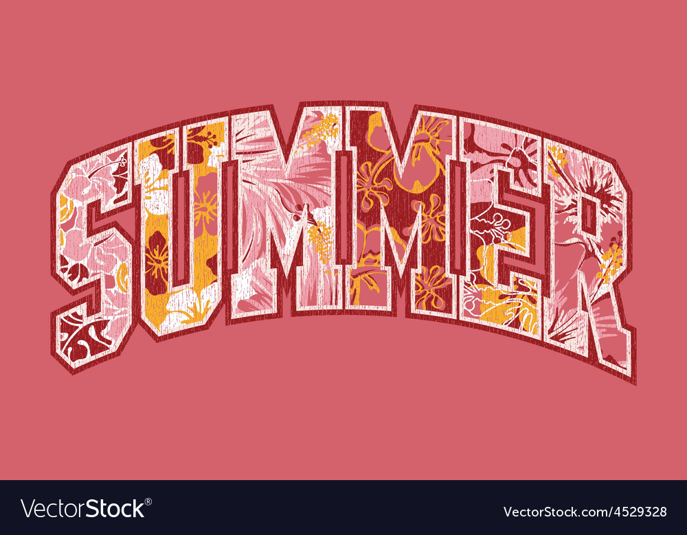 Summer hibiscuses lettering patchwork vector | Price: 1 Credit (USD $1)
