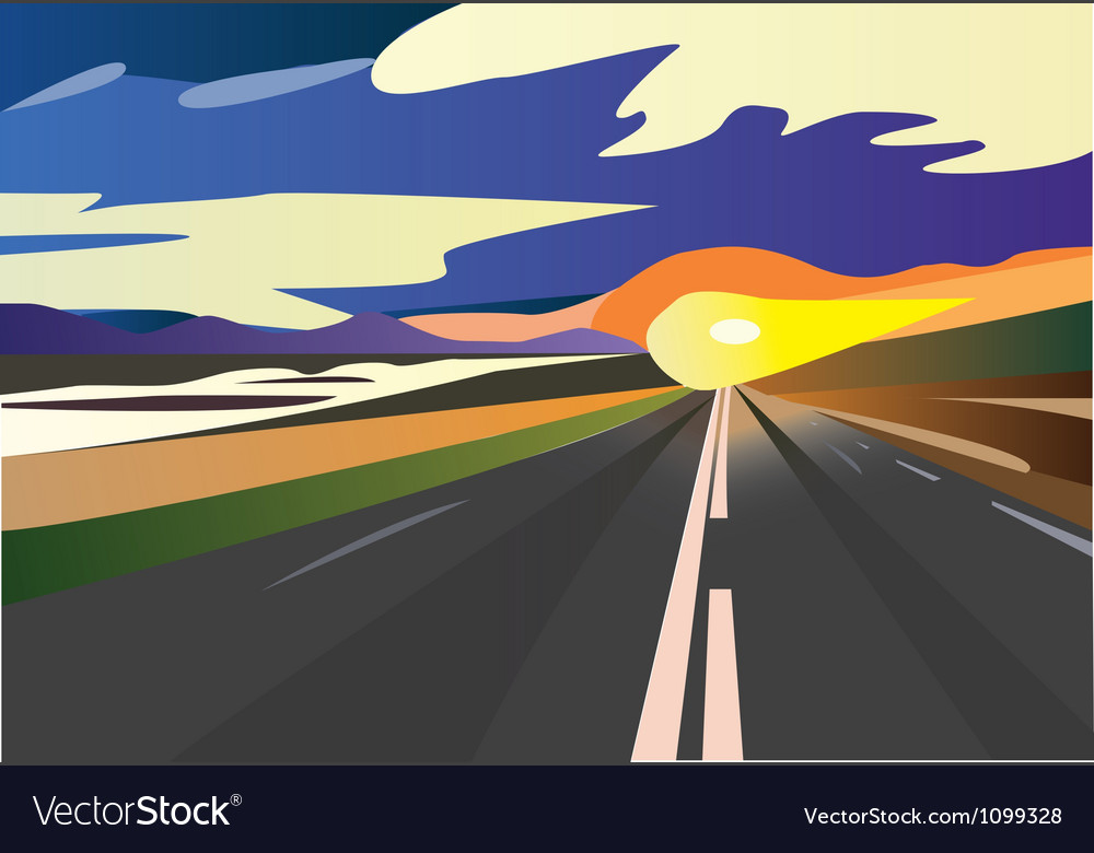 Sunset speed road vector | Price: 1 Credit (USD $1)