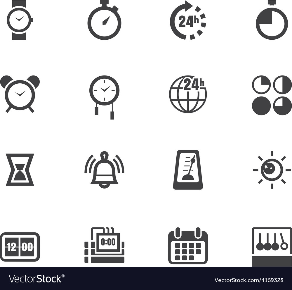 Time element black icon set on white background vector | Price: 1 Credit (USD $1)