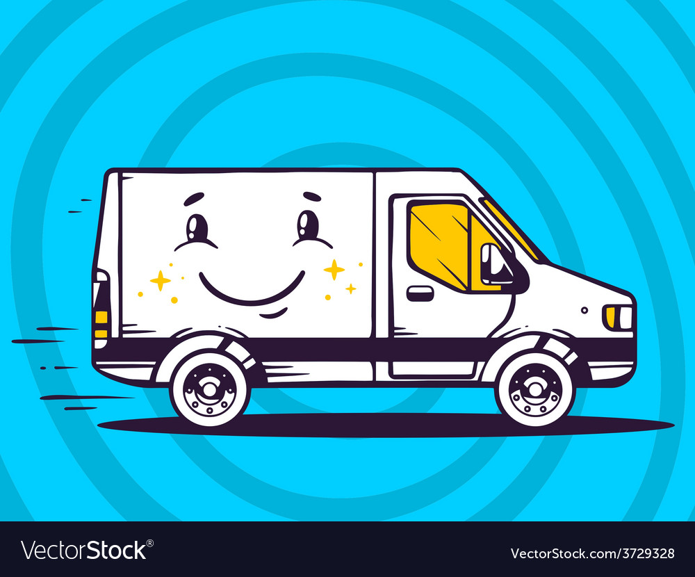 Van with smile free and fast delivery to vector | Price: 1 Credit (USD $1)