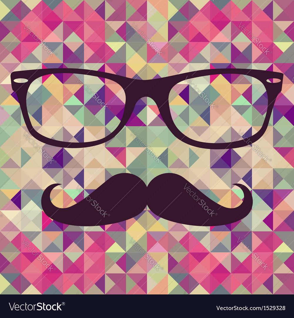 Vintage hipster face geometric pattern vector | Price: 1 Credit (USD $1)