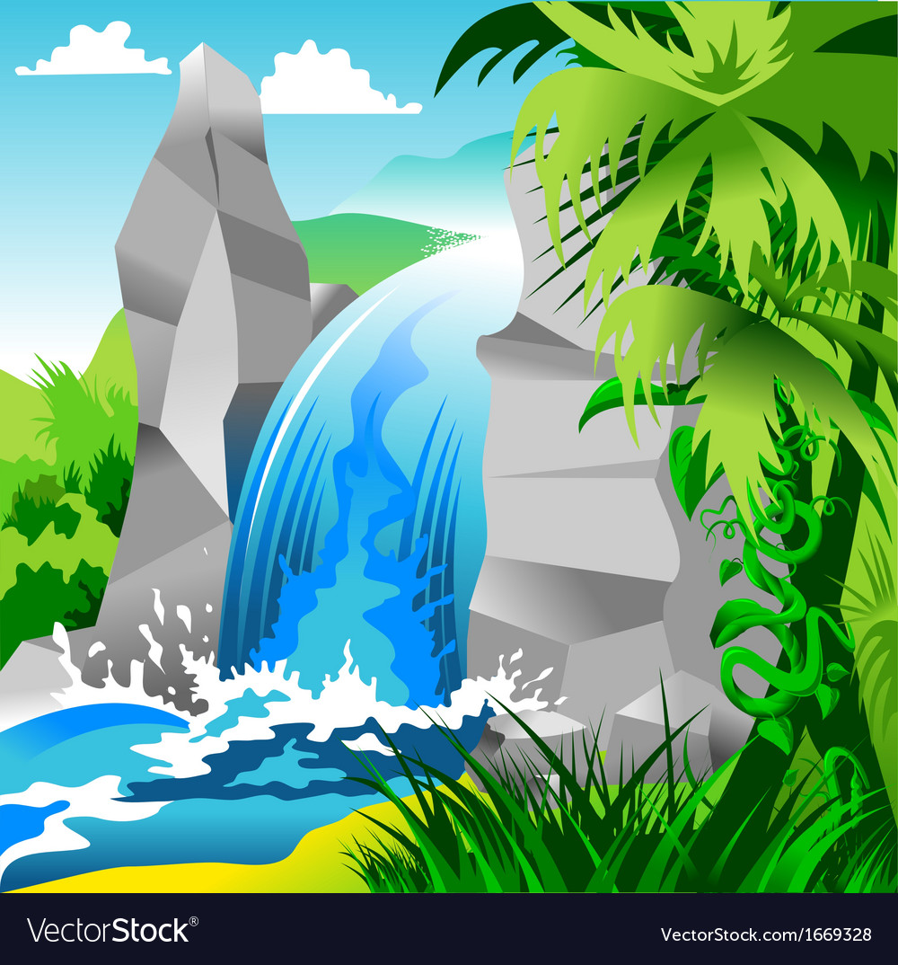 Waterfall landscape vector | Price: 1 Credit (USD $1)