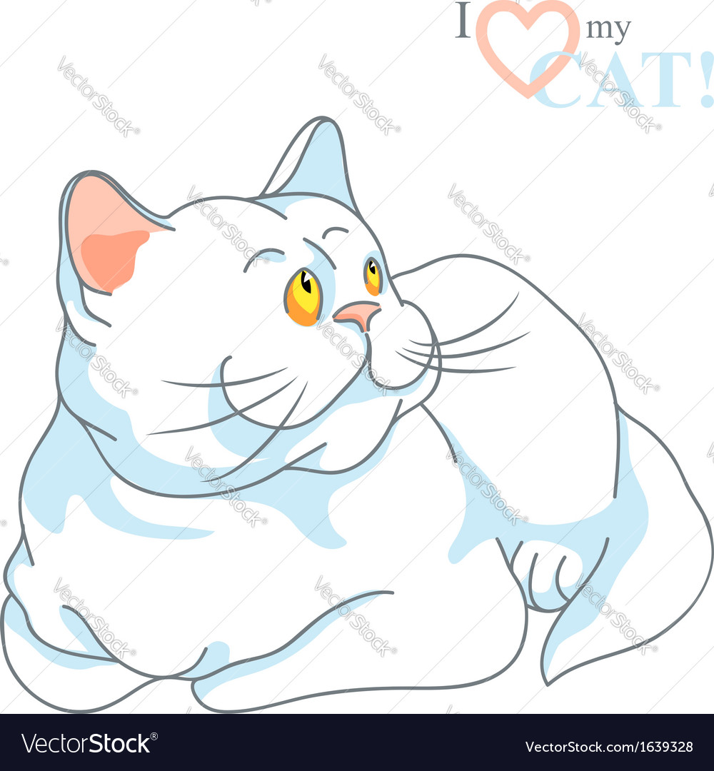 White cat with yellow eyes lying vector   Price: 1 Credit (USD $1)