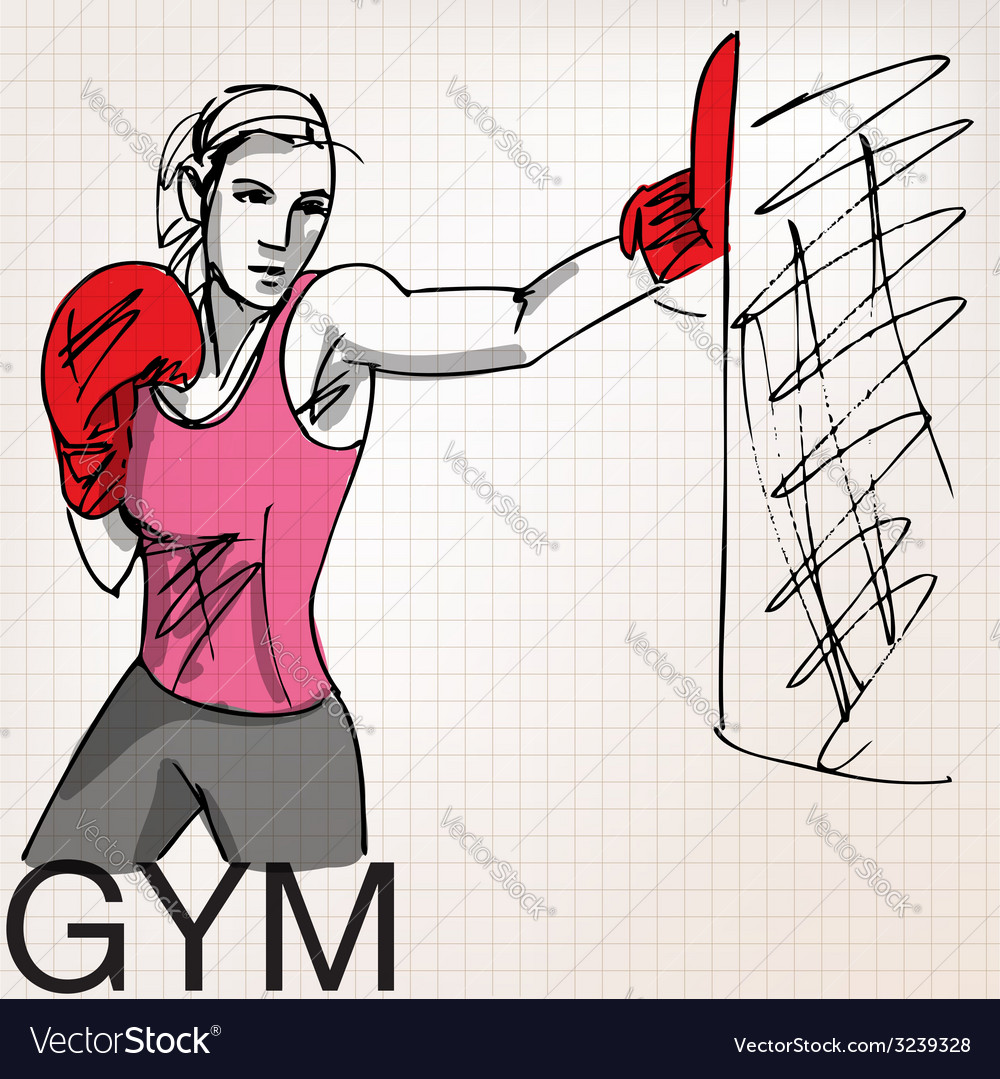 Woman with boxing gloves at workout at gym vector   Price: 1 Credit (USD $1)