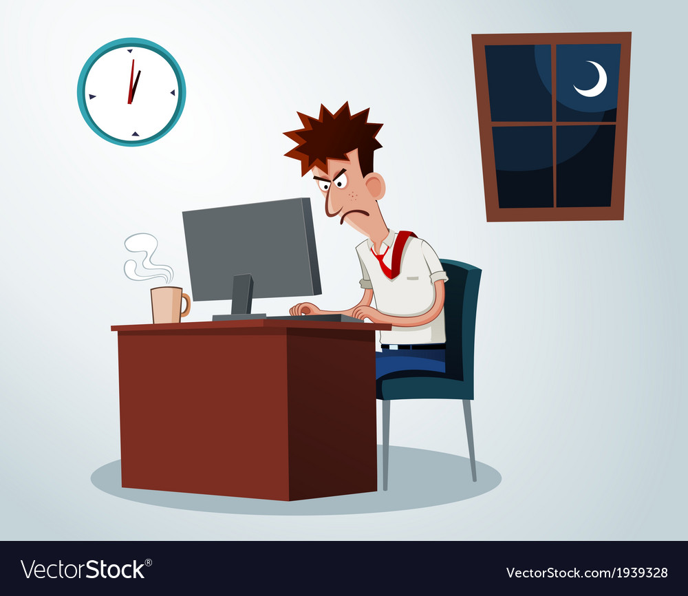 Working overtime vector | Price: 1 Credit (USD $1)